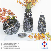 black mirror glass mosaic vase for home decoration