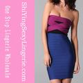venta al por mayor de moda sin respaldo tamaño plus azul sin tirantes vestido de vendaje
