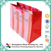 Colorful printing customized striped gift paper bags wholesale