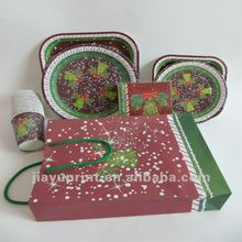 Christmas Paper Cup,Plate,Napkin,Hat and Bag Set