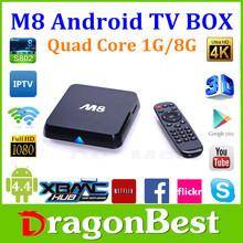 Dragonbest M8 google Android 4.4 tv box Full HD 1080P Smart Android TV Box Quad core Amlogic S802 m8 A9 2.0GHZ CPU Mali 450 GPU