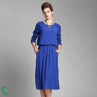 D336 100% Polyester Women Casual Blue Long Sleeve Midi Large Size Dress