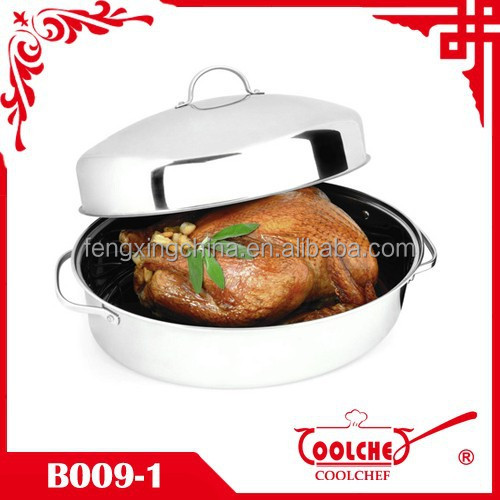 3pcs Stainless Steel Covered Oval Turkey Roaster Chicken