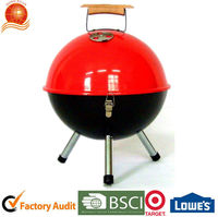 Hot sale round shape bbq grill with wooden handle/Ball shape red power coated charcoal grill/Small size easy taken barbecue