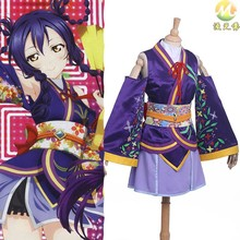 Love Live! School Idol Project The Movie Nozomi Tojo Cosplay Uniform Costume Gils Japanese Anime Kimono Dress