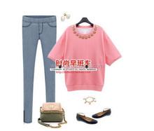 New style most popular plain women t-shirts v-neck t-shirt