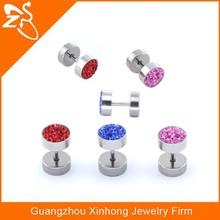 ES02086 surgical steel crystal ear piercing studs , fashion ear studs