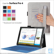 For microsoft surface pro 4 case, for microsoft surface pro 4 pu leather case with hand strap