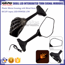 BJ-RM-066 Kawasaki Ninja 250 300 Skull Hand LED Motorcycle Mirror Turn Signals