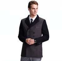 clothes designer trimming slim fitted solid korean style men coat cashmere overcoat