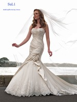 FF46 Floor Length Beads Lace Up Mermaid 2015 Lace Appliques Wedding Dress