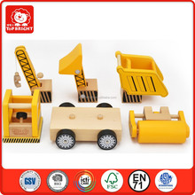 2015 hot product DIY learning toys wood and rubber and metal yellow colour construction vehiclesset 5 pcs wooden toy truck