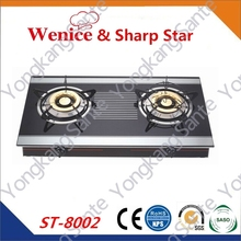 Wenice fashionable 2 burner glass top gas cooker ,gas stove ,gas cooktops ,ST-8002