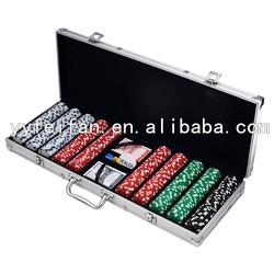 500pcs poker chips game set, straight corner alumimun cases