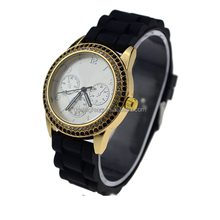 Mysterious design double row diamond gold womens watch