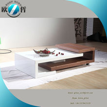 Swivel white high gloss wood coffee table folding expanding coffee table