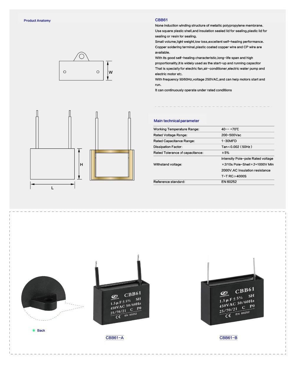 Ceiling Fan Wiring Diagram 450vac 15uf Cbb61 Capacitor Buy 1000v Motor Data 1