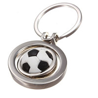 Audew White Black 2015 New 3D Sports Rotating Soccer Keychain Keyring Key Chain Ring Key Fob