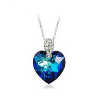 Wholesale AAA 100% 925 Sterling Silver Pendant Necklace Heart of Ocean Pendant Pure Natural Amethyst Necklaces Christmas Gift