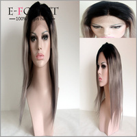 Hot Wholesale Brazilian Glueless Lace Wig Fashion Virgin Natural Full Lace Wig Silver Grey Ombre Front Lace Wig With Dark Root