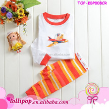 New arrival Lovely airplane printed children's clothing wholedale baby boy pajamas