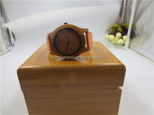 Careful lady girl natural wood watch with leather band