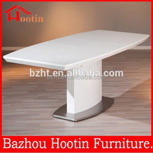 2015 new look folding dining table designs with high glossy painting top and shelf and stainless steel base