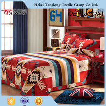 The best fashion bedding designs for 100% cotton high quality of print luxury bed sheet