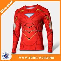 color blue super hero Iron man men's cotton jersey print t shirt