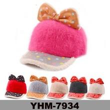 Children popular soft and warm winter children dotted brim unisex rabbit fur hat with bowknot