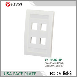 LY-FP26-4P network face plate usa type 3 ports face plate door lock without door lock
