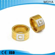 Wholesale 316l stainless steelwith cz diamond inlay fashion 18k saudi gold jewelry ring