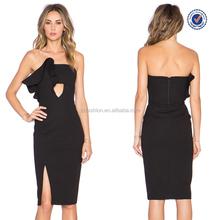 China wholesale preço barato strapless apertado sexy personalizar preto vestido de festa