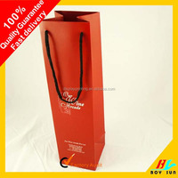 Customized wine paper bag Promotion flat handle kraft paper bag
