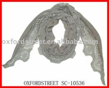 fashion plain dyed dobby tassel ployester cotton triangle scarf shawl