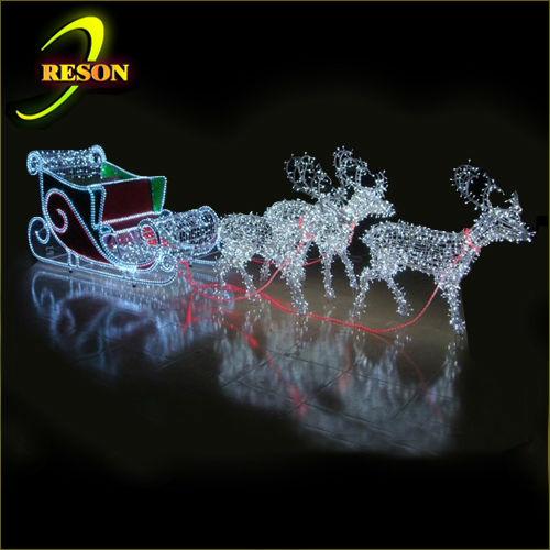 lighted santa sleigh and reindeer outdoor decoration memes. Black Bedroom Furniture Sets. Home Design Ideas