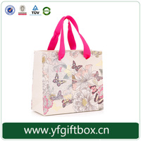 elegant fancy design for paper bag custom brand printing paper shopping bag with silk ribbon handle easy carrying