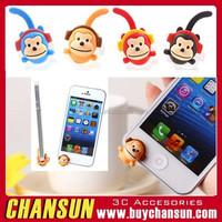 2015 newest cute Monkey anti dust earphone jack plug for iphone 6