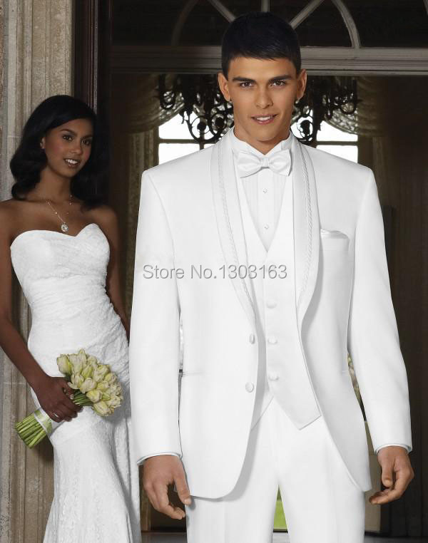 2017 New Design White Shawl Lapel Groom Tuxedos Groomsmen Best Man ...