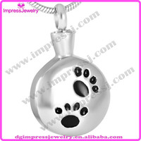 IJD8728 Top Popular 316L stainless steel slide round with pets Paw print cremation urn ash jewelry