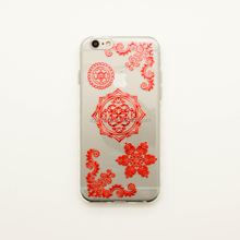 Customized red foil temporary phone case stickers