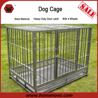 Factory Direct Supply Hot Selling Economic Folded Double Door Wire Mesh Pet Dog Crates With Wheels