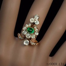 Popular Royal A Belle Epoque Antique Diamond and Emerald Ring