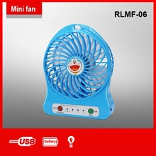 rechargeable mini fan with handle and battery and LED light and usb cord for hot summer