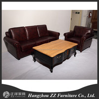 Chesterfield Sofa/antique full leather sofa set/French antique style rice color leather sofa set furniture