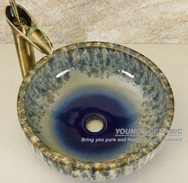 orientalischen handbemalte keramik waschbecken sch ssel. Black Bedroom Furniture Sets. Home Design Ideas
