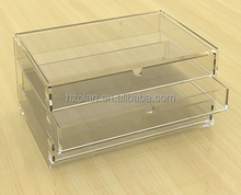 Plastic storage case 2 drawers make up organizer acrylic jewelry display case