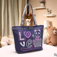 Wholesale cute cartoon bear printed zipper style girls womens cotton canvas tote bag, eco canvas shopper bag