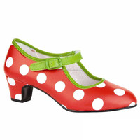 flamenco shoes Feria made in Spain Red with white dots and green piping