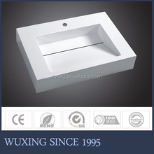 Factory Directly Sale Price North American Style White Bathroom Basin / Resin Basin / Artificial Stone Counter Top Basin